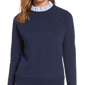Halogen Removable Collar Sweatshirt Blouse Navy